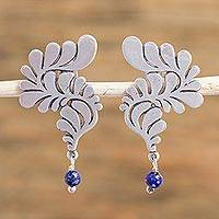 Lapis lazuli dangle earrings, 'Fluid Feathers' - Dyed Blue Lapis Lazuli Sterling Silver Earrings from Mexico