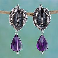 Amethyst dangle earrings, 'Night Petals' - Sterling Silver and Amethyst Earrings Crafted in Mexico