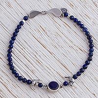 Beaded lapis lazuli pendant bracelet,