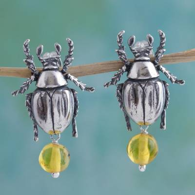 Amber dangle earrings, 'Scarab Sands' - Sterling Silver and Amber Scarab Earrings Crafted in Mexico