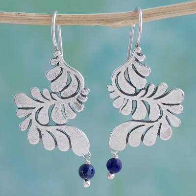 Lapis lazuli and sterling silver dangle earrings, 'Serpentine Feather' - Blue Lapis Lazuli Sterling Silver Earrings from Mexico