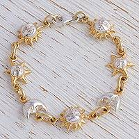 Gold and rhodium plated sterling silver link bracelet, 'Celestial Orbit' - Handcrafted Gold Plate Sterling Silver Sun and Moon Bracelet