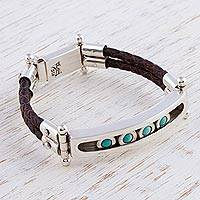 Turquoise wristband bracelet- 'Watchful Sea' (Mexico)