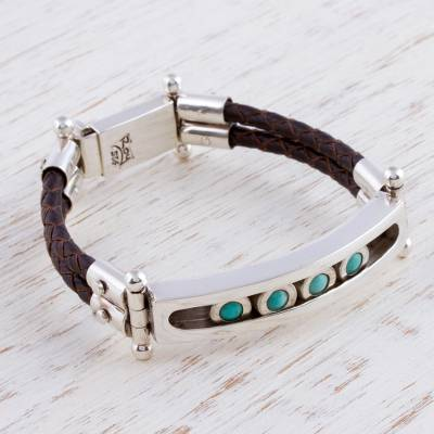 Turquoise wristband bracelet, 'Watchful Sea' - Turquoise Silver and Leather Mexican Wristband Bracelet