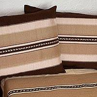 Cotton bedspread and pillowcases, 'Striped Traveler' (twin) - Cotton Bedspread and Pillowcases with Copper Stripes (Twin)