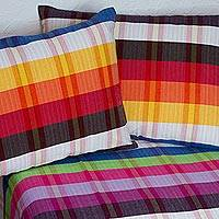 Cotton bedspread and pillowcases, 'Beautiful Rainbow' (twin) - Twin Cotton Bedspread and Pillowcases with Stripes