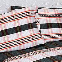 Cotton bedspread and pillowcases, 'Comfort Stripes' (twin) (Mexico)