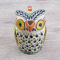Ceramic creamer, 'Night Bird' - Handcrafted Majolica Ceramic Owl Creamer from Mexico