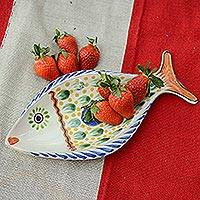 Ceramic tray, 'Folkloric Fish' (17 inch) - Colorful Talavera Style Fish Platter from Mexico (17 inch)