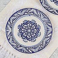 Majolica ceramic salad plates, 'Floral Tradition' (pair) - Two Round Majolica Ceramic Floral Salad Plates from Mexico