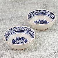 Ceramic bowls, 'Floral Tradition' (pair) - Two Hand-Painted Majolica Ceramic Floral Bowls from Mexico