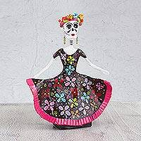 Papier mache figurine, 'Oaxacan Lady of the Dead' - Handmade Mexican Lady of the Dead Papier Mache Figurine
