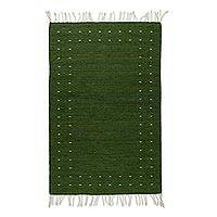 Wool area rug, 'Zapotec Simplicity in Olive' (2.5x5) - Handwoven 2.5x5 Zapotec Wool Area Rug in Olive from Mexico