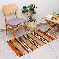 Wool area rug, 'Crisp Desert' (2x3) - Handwoven 2x3 Striped Geometric Wool Area Rug from Mexico