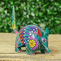 Wood alebrije figurine, 'Exciting Armadillo' - Floral Wood Armadillo Alebrije Figurine from Guatemala