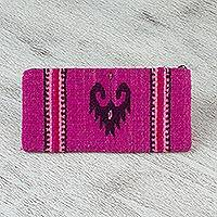 Wool coin purse, 'Stylized Heart' - Handwoven Wool Coin Purse in Magenta from Mexico