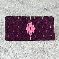 Wool coin purse, 'Geometric Rain' - Geometric Wool Coin Purse in Mulberry and Rose from Mexico