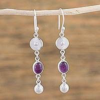 Amethyst dangle earrings, 'Lavender Calm' - Artisan Crafted Amethyst and Taxco Silver Dangle Earrings