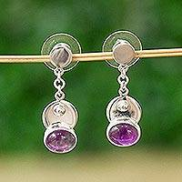 Amethyst dangle earrings, 'Lavender Moonrise' - Elegant Amethyst and Taxco Silver Dangle Earrings