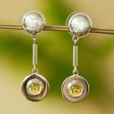 Citrine dangle earrings, 'Taxco Shine' - Mexican Taxco Silver Dangle Earrings with Citrine Cabochons
