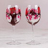 Hand-painted wine glasses, 'Love Birds' (pair) - Two Hand-Painted Bird-Themed Wine Glasses from Mexico