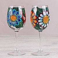 Hand-painted wine glasses, 'Floral Friendship' (pair) - Hand-Painted Pair of Floral Wine Glasses from Mexico