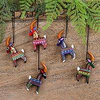 Wood alebrije ornaments, 'Colorful Goats' (set of 5) - Five Hand-Painted Goat Alebrije Ornaments from Mexico