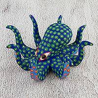 Wood alebrije sculpture, 'Spotted Octopus in Blue' - Handcrafted Blue Octopus Wood Alebrije Sculpture from Mexico