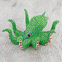 Wood alebrije sculpture, 'Spotted Octopus in Green' - Painted Green Octopus Wood Alebrije Sculpture from Mexico