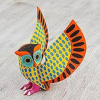 Wood alebrije sculpture, 'Alert Owl' - Hand-Painted Wood Owl Alebrije Sculpture from Mexico