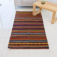 Wool area rug, 'Zapotec Stripes' (2.5x5) - Handwoven 2.5x5 Striped Wool Zapotec Area Rug from Mexico