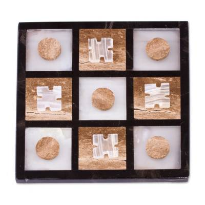 Onyx and Marble Tic-Tac-Toe Set from Mexico