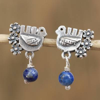 Lapis lazuli dangle earrings, Serenity Dove