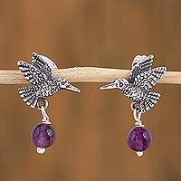 Amethyst dangle earrings, 'Avian Tranquility' - Amethyst and Silver Bird Dangle Earrings from Mexico
