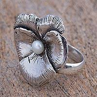 Cultured pearl cocktail ring, 'Flowering Glow' - Cultured Pearl and Silver Floral Cocktail Ring from Mexico