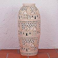 Decorative ceramic vase, 'Tranquil Nights' - Tall Handcrafted Decorative Vase with Etching and Open-work