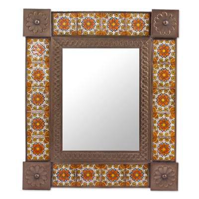 Handcrafted Ceramic and Tin Floral Mirror from Mexico
