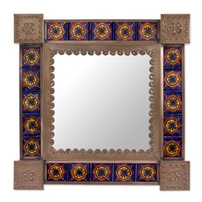 Ceramic and Tin Square Wall Mirror from Mexico