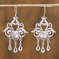 Sterling silver chandelier earrings, Baroque Elegance - Sterling Silver Floral Chandelier Earrings from Mexico