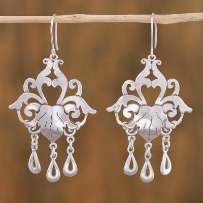 Sterling silver chandelier earrings, 'Baroque Elegance' - Sterling Silver Floral Chandelier Earrings from Mexico
