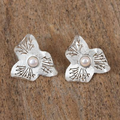 Cultured pearl button earrings, 'Pearl Bloom' - Sterling Silver and Cultured Pearl Flower Button Earrings