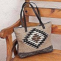 Wool and leather accent tote handbag, 'Memory of Mexico' - Beige Wool and Leather Accent Tote Handbag from Mexico