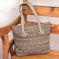 Wool shoulder bag, 'Rain of Colors' - Striped Wool Shoulder Bag in Brown from Mexico