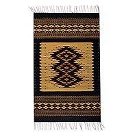 Wool area rug, 'Earth Geometry' (3x5) - Handwoven 3x5 Geometric Zapotec Wool Area Rug from Mexico