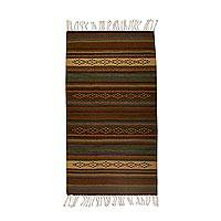 Wool area rug, 'Beneath the Earth' (2.5x5) - Handwoven 2.5x5 Striped Wool Zapotec Area Rug from Mexico