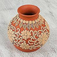 Ceramic vase, 'Mexican Flowers' - Handcrafted Ceramic Vase with Floral Design from Mexico