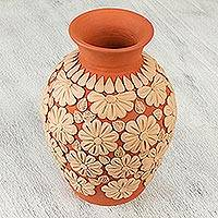 Ceramic vase, 'Flowers of the Earth' - Handcrafted Ceramic Vase with Floral Pattern from Mexico