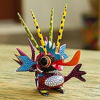 Wood alebrije sculpture, 'Energetic Martian' - Wood Alebrije Sculpture of a Colorful Alien from Mexico