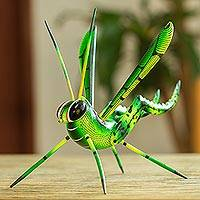 Wood alebrije sculpture, 'Green Good Luck Cricket' - Wood Alebrije Cricket Sculpture in Green from Mexico