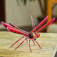 Wood alebrije sculpture, 'Sweet Freedom in Pink' - Handcrafted Pink Copal Wood Dragonfly Sculpture from Mexico